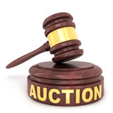 Auction wooden hammer. On a white background done in 3d Royalty Free Stock Images