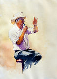 The Auctioneer. Is an original watercolor of a man conducting an auction Royalty Free Stock Photos