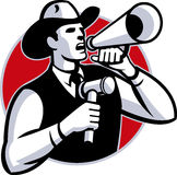Auctioneer Cowboy With Gavel And Bullhorn Stock Image