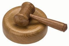 Auctioneer or Judges Gavel - Isolated. A gavel is a small ceremonial mallet which an auctioneer, a judge, or the chair of a meeting hits a surface to call for Stock Images