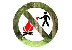 Aucun abattage d'arbres, aucuns incendies Images stock
