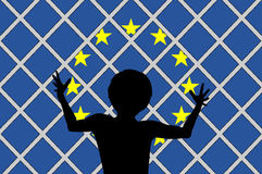 Aucun accueil pour des migrants Image libre de droits