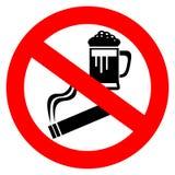 Aucun alcool et signe de tabagisme illustration libre de droits