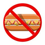 Aucun aliments de préparation rapide permis Symbole de hot dog d'interdiction Photo libre de droits