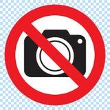 Aucun appareils-photo permis le signe Interdiction rouge aucun signe d'appareil-photo illustration libre de droits
