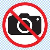 Aucun appareils-photo permis le signe Interdiction rouge aucun signe d'appareil-photo Aucune photos de prise, aucun signe de phot illustration stock