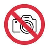 Aucun appareils-photo permis le signe L'icône plate en rouge a biffé le cercle Illustration de vecteur illustration libre de droits