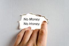 Aucun argent aucun concept des textes de miel Images libres de droits