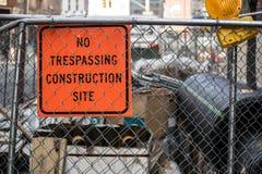 Aucun chantier de construction de Tresspassing Photo libre de droits
