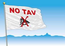 Aucun drapeau de mouvement de Tav, Italie illustration de vecteur