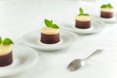 Aucun faites 3 gâteaux au fromage de chocolats Photographie stock libre de droits