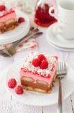 Aucun faites le chocolat, la framboise et le gâteau cuire au four de couche de Savoiardi Image stock