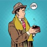 Aucun homme d'argent ne regarde dans le portefeuille vide illustration de vecteur
