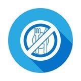 aucun mangez, icône plate interdite de signe avec la longue ombre illustration de vecteur