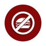 Aucun mangez, les aliments de préparation rapide, icône interdite de signe dans le style d'insigne Un de l'icône de collection de illustration stock