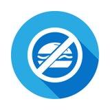 Aucun mangez, les aliments de préparation rapide, icône plate interdite de signe avec la longue ombre illustration libre de droits