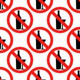Aucun modèle sans couture d'icône de signe d'alcool sur le fond blanc Conception plate Illustration de vecteur Images stock