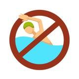 Aucun nageur de natation de signe dans la restriction ou la précaution de l'eau illustration libre de droits