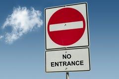 Aucun panneau routier d'entrée Images stock