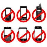 Aucun positionnement de signe de téléphone Photos stock