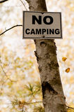 Aucun signe campant Photographie stock libre de droits