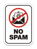 Aucun signe d'allert de Spam Photos stock