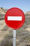 Aucun signe d'entrée, parc de Bardenas Reales ; La Navarre Photographie stock libre de droits