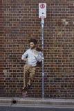 Aucun signe de arrêt et homme peint Image stock
