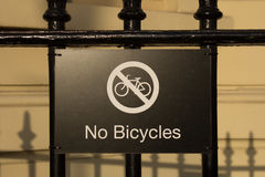 Aucun signe de bicyclettes Photo stock