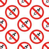 Aucun signe de drogue Aucun modèle sans couture d'icône vaccinique sur le fond blanc Conception plate Illustration de vecteur Photographie stock libre de droits