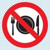 Aucun signe de nourriture, aucune consommation n'a permis le signe Interdiction rouge aucun signe de nourriture illustration stock