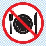 Aucun signe de nourriture, aucune consommation n'a permis le signe Interdiction rouge aucun signe de nourriture Ne mangez pas le  illustration libre de droits