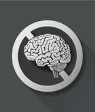 Aucun signe de pensée avec le cerveau Photographie stock
