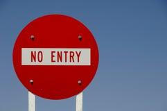 Aucun signe de route d'entrée Image stock