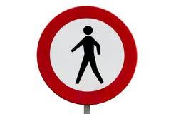 Aucun signe de route de piétons Photo libre de droits
