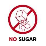 Aucun signe de sucre avec Ant Carrying Sugar rouge dans la conception de vecteur de cercle d'arrêt Image stock