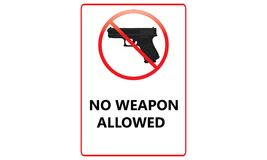 Aucun signe permis par arme à feu - aucune arme n'a permis Logo Sign rouge - illustration stock