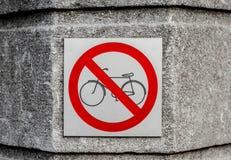 Aucun signe permis par bicyclette Images stock