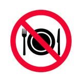 Aucun signe permis par consommation Interdiction rouge aucun signe de nourriture illustration de vecteur