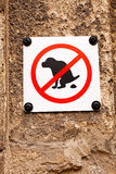 Aucun signe pooping de crabot Image libre de droits