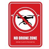Aucun signe restrictif de zone de bourdon - quadcopter Images stock