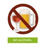 Aucun soins de santé ou régime d'icône de restriction de signe d'alcool illustration de vecteur