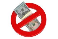 Aucun symbole dollar 3D Images libres de droits