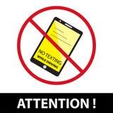 Aucun Texting tout en pilotant le signe EPS10 illustration libre de droits