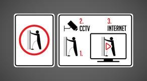 Aucun uriner svp - arrêtez l'acte du signe de vandalisme - l'interdiction de l'urination illustration libre de droits