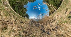 AUCUN VR Peu transformation de planète avec la courbure de l'espace plein panorama de survol avec la hausse dans le ciel sur des  banque de vidéos