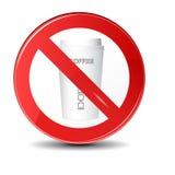 Aucune boisson ou signe permis par café Icône de signe d'interdiction Photographie stock