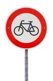 Aucune entrée pour le poteau de signalisation de bicyclettes Image libre de droits