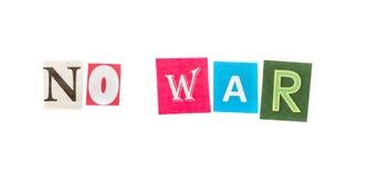 Aucune guerre coupée ne marque avec des lettres l'inscription Images libres de droits