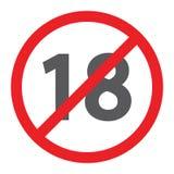 Aucune icône plus du glyph 18, interdite et interdiction, signe de restriction d'âge, graphiques de vecteur, un modèle solide sur illustration stock